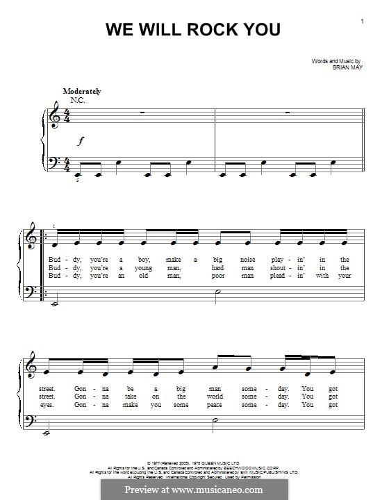 We Will Rock You (Queen): Für Klavier by Brian May