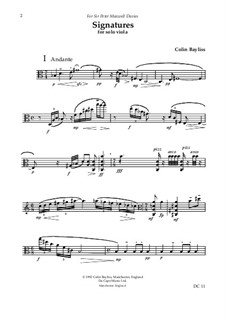 Signatures for solo viola, B50: Signatures for solo viola by Colin Bayliss