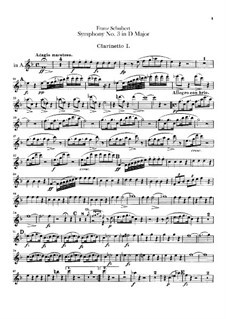 Sinfonie Nr.3 in D-Dur, D.200: Klarinettenstimmen by Franz Schubert