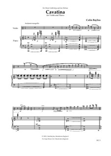 Cavatina for violin and piano, B53: Cavatina for violin and piano by Colin Bayliss