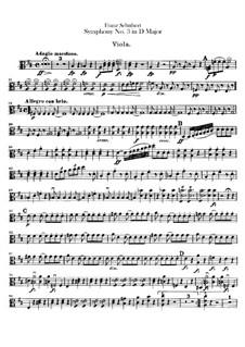 Sinfonie Nr.3 in D-Dur, D.200: Violastimme by Franz Schubert