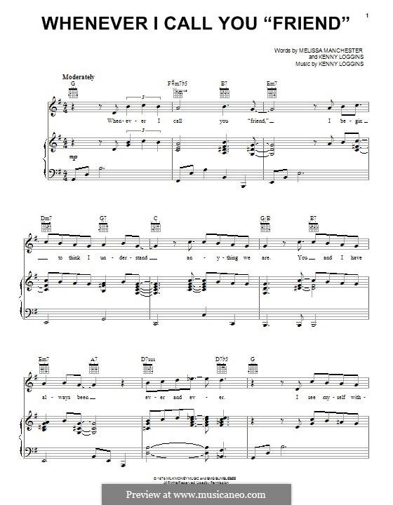 Whenever I Call You 'Friend': Für Stimme und Klavier (oder Gitarre) by Kenny Loggins