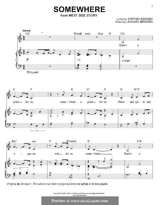 Somewhere (from West Side Story): Für Stimme und Klavier (oder Gitarre) by Leonard Bernstein