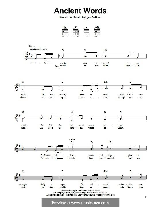 Ancient Words: Für Gitarre mit Tab by Lynn DeShazo