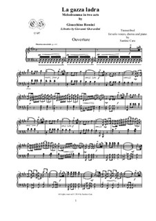 Die diebische Elster: Overture, for solo piano, CSGR1 by Gioacchino Rossini