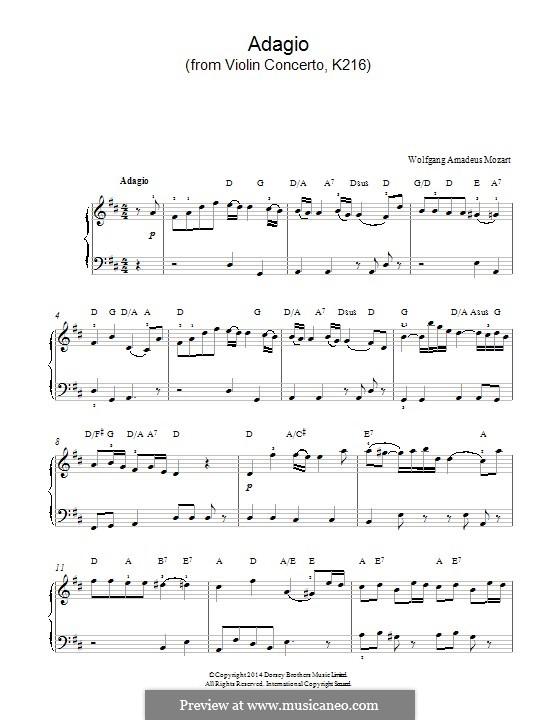 Konzert für Violine und Orchester Nr.3 in G-Dur, K.216: Adagio (fragment). Version for piano by Wolfgang Amadeus Mozart