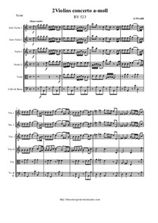 Concerto for Two Violins and Strings in A Minor, RV 523: Score and all parts by Antonio Vivaldi