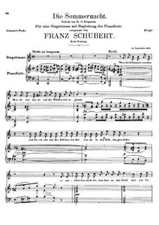 Die Sommernacht, D.289: Erste Fassung by Franz Schubert