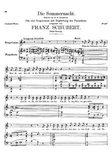 Die Sommernacht, D.289: Zweite Fassung by Franz Schubert