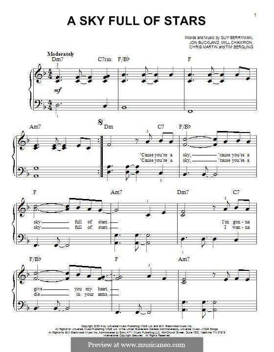 A Sky Full of Stars (Coldplay): Für Klavier by Chris Martin, Guy Berryman, Jonny Buckland, Avicii, Will Champion