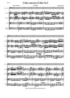 Cello Concerto in G Major No.3, G.480: Score and all parts by Luigi Boccherini