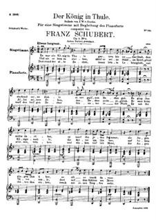 Der König in Thule, D.367 Op.5 No.5: Für hohe Stimme und Klavier by Franz Schubert