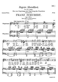 Jägers Abendlied, D.368 Op.3 No.4: Für hohe Stimme und Klavier by Franz Schubert