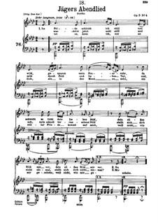 Jägers Abendlied, D.368 Op.3 No.4: Für tiefe Stimme und Klavier by Franz Schubert