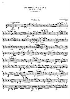Sinfonie Nr.4 in c-Moll 'Tragische', D.417: Violinstimme I by Franz Schubert
