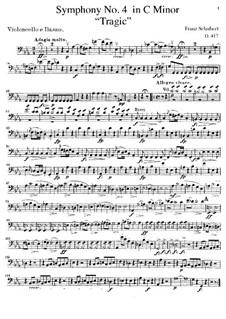 Sinfonie Nr.4 in c-Moll 'Tragische', D.417: Cello- und Kontrabass-Stimme by Franz Schubert
