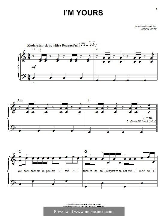 I'm Yours: Für Klavier by Jason Mraz