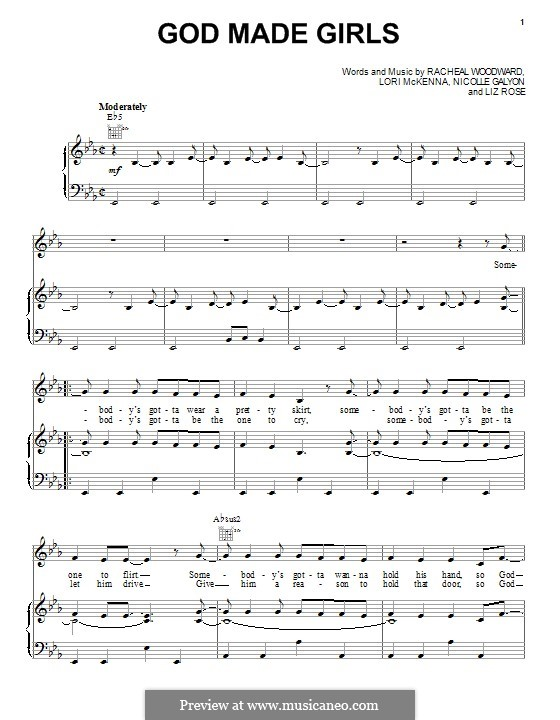 God Made Girls (RaeLynn): Für Stimme und Klavier (oder Gitarre) by Liz Rose, Lori McKenna, Nicolle Galyon, Racheal Woodward