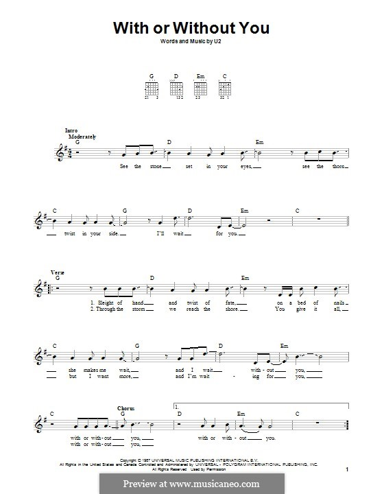 With or without You: Für Gitarre mit Tabulatur by U2