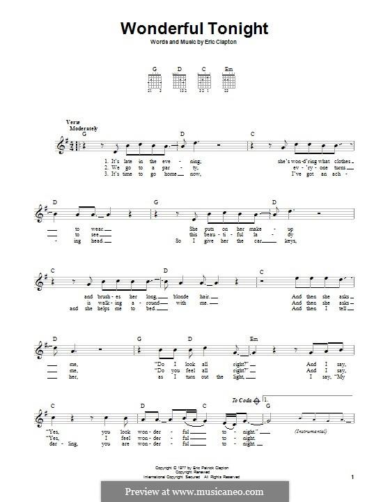 Wonderful Tonight: For guitar with lyrics by Eric Clapton