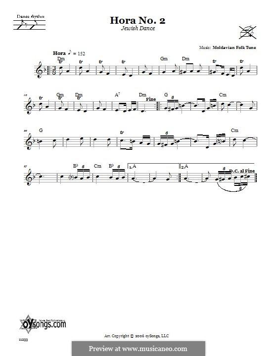 Hora No.2 (Jewish Dance): Text und Akkorde by folklore