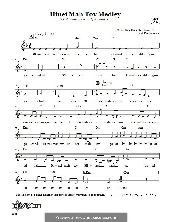 Hinei Mah Tov Medley (Behold How Good and Pleasant It Is): Text und Akkorde by folklore