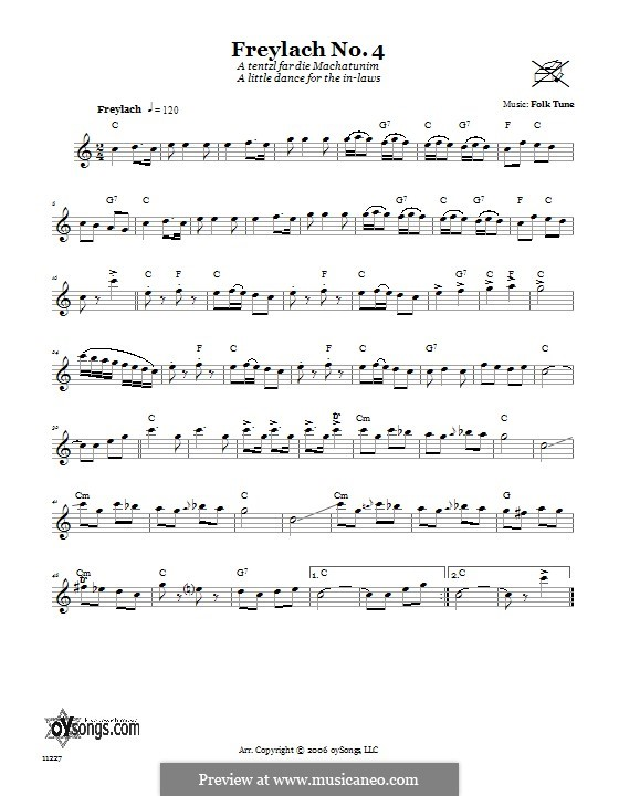 Freylach No.4 (A Tentzl Far Die Machantunim (A Little Dance for the In-Laws)): Text und Akkorde by folklore