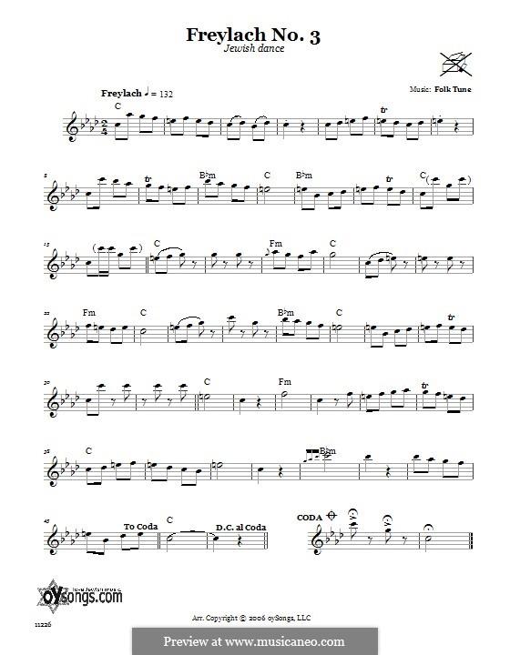 Freylach No.3 (Jewish Dance): Text und Akkorde by folklore
