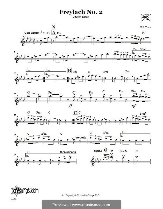 Freylach No.2 (Jewish Dance): Text und Akkorde by folklore