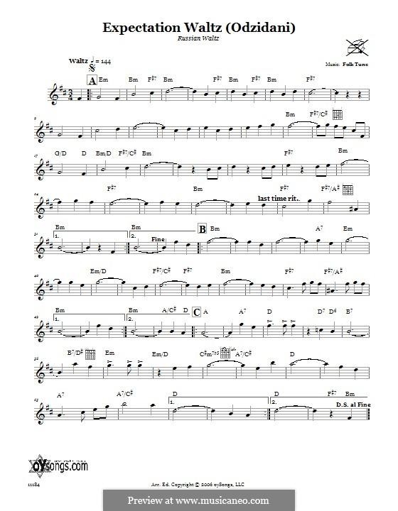 Expectation Waltz (Odzidani) (Russian Waltz): Text und Akkorde by folklore