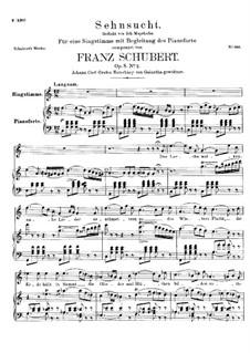 Sehnsucht, D.516 Op.8 No.2: Für hohe Stimme und Klavier by Franz Schubert