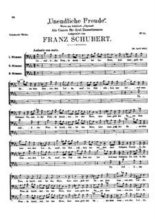 Unendliche Freude, D.54: Unendliche Freude by Franz Schubert