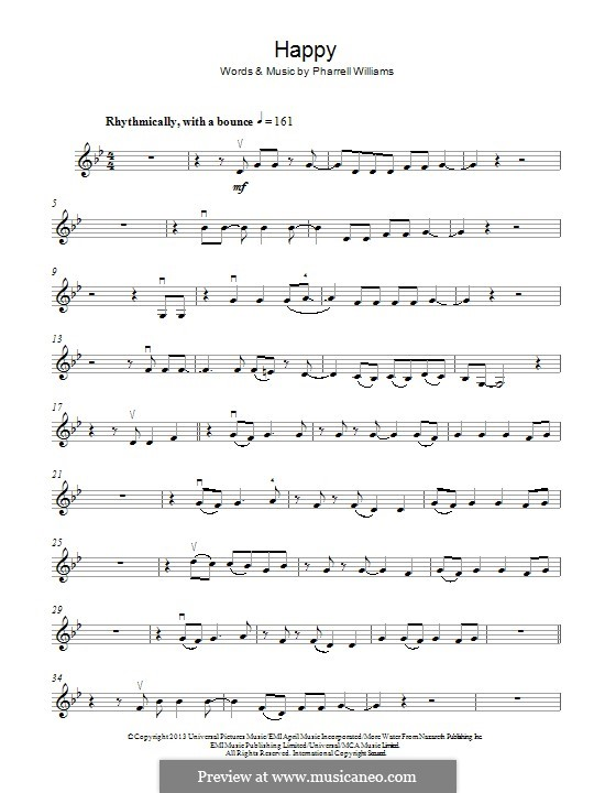 Happy (from Despicable Me 2): Für Violine by Pharrell Williams