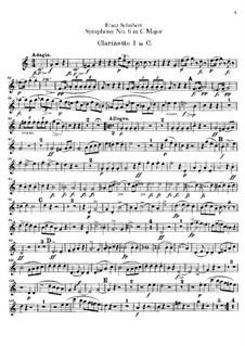 Sinfonie Nr.6 in C-Dur, D.589: Klarinettenstimmen by Franz Schubert