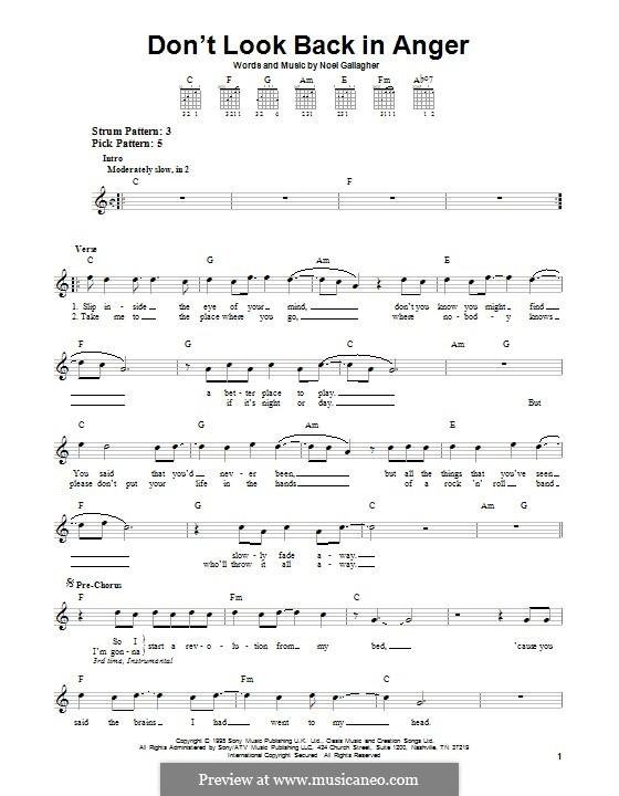 Don't Look Back in Anger (Oasis): Für Gitarre mit Tabulatur by Noel Gallagher