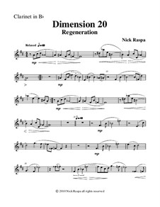 Dimension 20, Regeneration: B Flat clarinet part by Nick Raspa