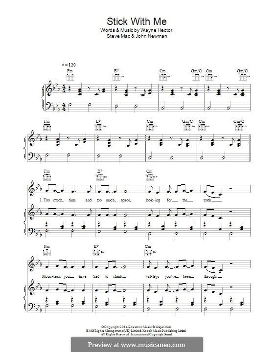 Stick with Me: Für Stimme und Klavier (oder Gitarre) by Steve Mac, Wayne Anthony Hector, John Newman