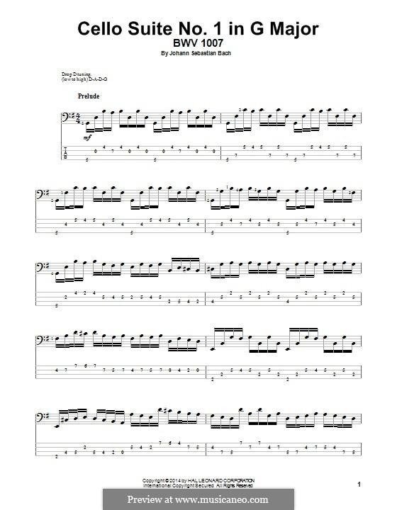 Suite für Cello Nr.1 in G-Dur, BWV 1007: Für Bassgitarre mit Tabulatur by Johann Sebastian Bach