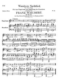 Wanderers Nachtlied II, D.768 Op.96 No.3: Für hohe Stimme und Klavier by Franz Schubert