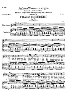 Auf dem Wasser zu singen, D.774 Op.72: Deutscher Text by Franz Schubert