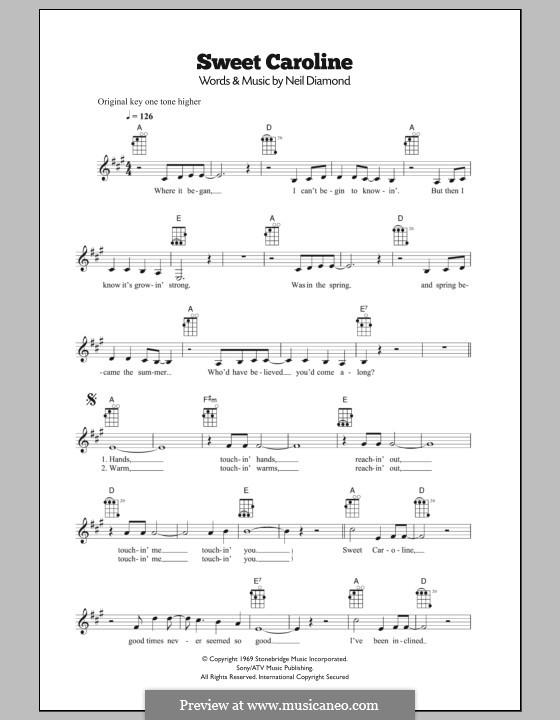 Sweet Caroline: Für Ukulele by Neil Diamond