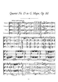 Streichquartett Nr.15 in G-Dur, D.887 Op.161: Vollpartitur by Franz Schubert