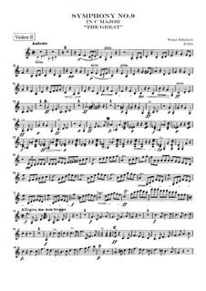 Sinfonie Nr.9 in C-Dur 'Die Grosse', D.944: Violinstimme II by Franz Schubert