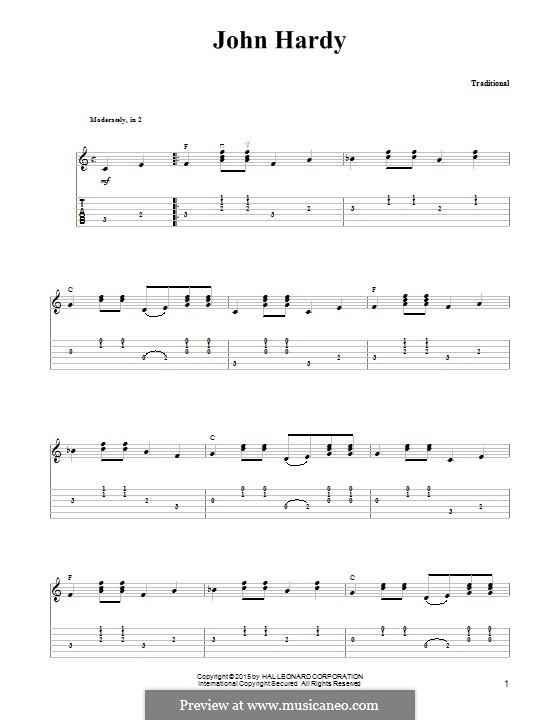 John Hardy: Für Gitarre mit Tabulatur by folklore