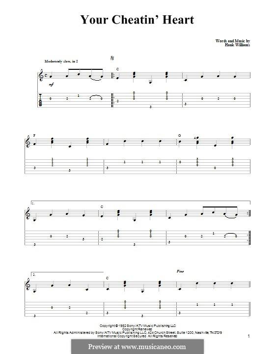 Your Cheatin' Heart: Für Gitarre mit Tabulatur by Hank Williams