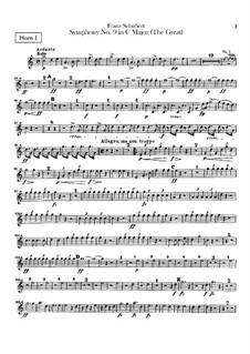 Sinfonie Nr.9 in C-Dur 'Die Grosse', D.944: Hörnerstimmen in C by Franz Schubert