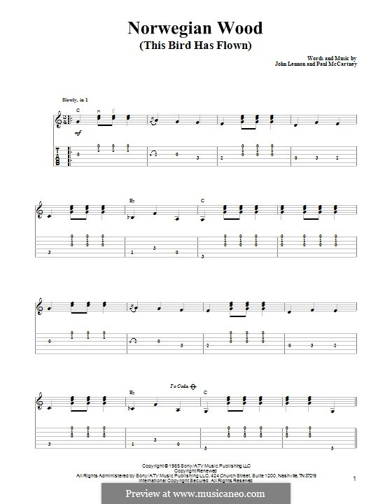 Norwegian Wood (This Bird Has Flown): Für Gitarre mit Tabulatur by John Lennon, Paul McCartney