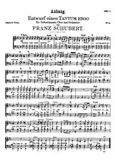 Tantum ergo in Es-Dur, D.962: Anhang. Singpartitur by Franz Schubert