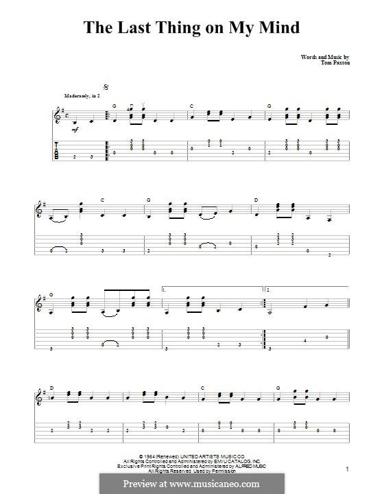 The Last Thing on My Mind: Für Gitarre mit Tabulatur by Tom Paxton