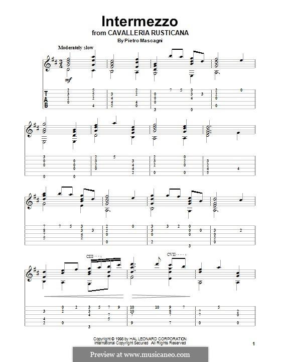 Cavaleria rusticana: Intermezzo, for guitar by Pietro Mascagni